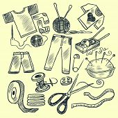 Knitting tools. Hand drawn vector illustration.