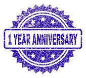 1 Year Anniversary Stamp Watermark With Corroded Style. Blue Vector Rubber Seal Print Of 1 Year Anni poster
