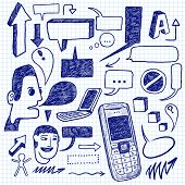 Communication doodles set. Vector illustration.