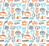 Food seamless doodles pattern. Vector illustration.