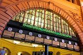 The clocks at Flinders Street Station, Melbourne, Australia.