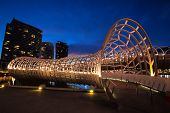 Webb Bridge, Docklands, Melbourne, Australia, at night.
