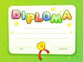 Cartoon Kids Certificate, Diploma Template. Children Achievement, Success, Preschool, Elementary Sch poster