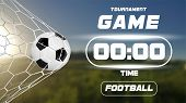 Soccer Or Football Banner With 3d Ball And Scoreboard Or Timer On Green Field Background. Soccer Gam poster