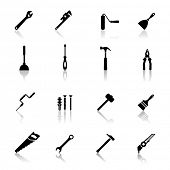stock photo of hammer drill  - Icons set tools - JPG