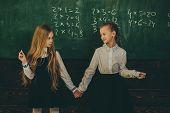 Friendship. Friendship Of Two School Girls. Friendship Concept. Friendship Relations Of Little Girls poster