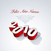 2010 Happy New Year in spanish. Vector. No mesh.