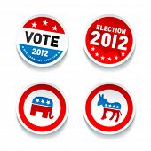 picture of poll  - Set of US presidential election stickers in 2012 - JPG