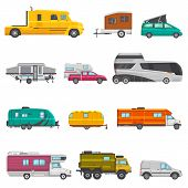 Caravan Vector Camping Trailer And Rv Caravanning Vehicle For Traveling Or Journey Illustration Tran poster