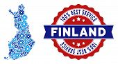 Repair Service Finland Map Collage Of Tools. Abstract Territorial Scheme In Blue Colors And Best Ser poster