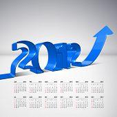 Vector 3D Arrow Moving Upward with 2012 and Calendar