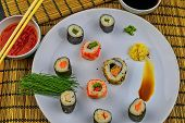 Sushi Set, Japanese Food. Sushi Rolls. Sushi Menu. Flat Design Top View poster