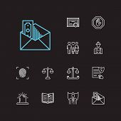 Legal Icons Set. Fingerprint And Legal Icons With Corrupt, Penalty And Labor. Set Of Professional Fo poster