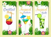Cocktail Summer Drink Banner Set. Vector Paper Cut Cocktail Party, Tropical Cocktail And Tropical Pa poster