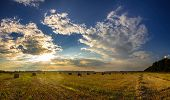 Dramatic Sunset Over A Fields. Straw Bales In Fields Farmland With Blue Cloudy Sky At Harvesting Tim poster