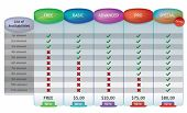 detailed pricing chart for web design illustrations