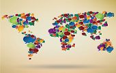 abstract illustration of social network around the world represented with speech bubbles