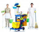 Professional cleaner man and woman with janitor cart. Isolated on white background..