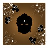 Zen Buddha â?? Silhouette of Buddhaâ??s head with jasmine flowers.