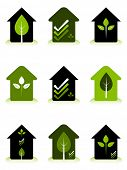Green house conceptual logos representing environmentally friendly home design and construction.