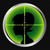 Sniper scope aimed at a female silhouette.