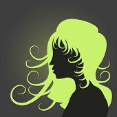 Funky girl hairstyle silhouette.