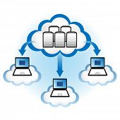 Cloud computing concept. Laptop computers downloading application data from servers located in the