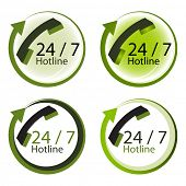 Twenty four hours by seven days hot line service concept.
