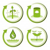 Green eco friendly design concepts â?? wind farm, rain water tank, water conservation, tree seedlings.
