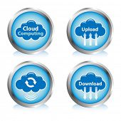 Cloud computing buttons. Cloud sync, upload, and download buttons.