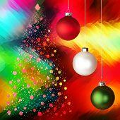 Christmas Tree Over Glowing Vivid Multicolor Tie Die Background