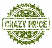 Crazy Price Stamp Seal Watermark With Scratched Style. Green Vector Rubber Print Of Crazy Price Tag  poster