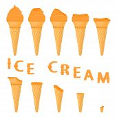 Vector Illustration For Natural Sea Buckthorn Ice Cream On Waffle Cone. Ice Cream Pattern Consisting poster