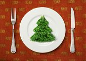 The Christmas salad on white plate on table