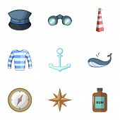 Pirate Life Icons Set. Cartoon Set Of 9 Pirate Life Vector Icons For Web Isolated On White Backgroun poster