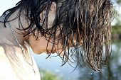 pic of quicksand  - The guy with long hair ashore at lake - JPG