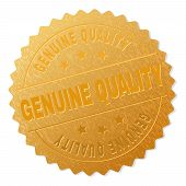 Genuine Quality Gold Stamp Award. Vector Gold Medal With Genuine Quality Title. Text Labels Are Plac poster
