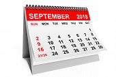 2018 Year Calendar. September Calendar On A White Background. 3d Rendering poster