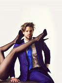 Couple In Love. Legs Of Woman And Man Or Businessman In Suit, Fashionable Shoes And Tights Isolated  poster