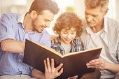 Grandfather Father And Son Reading Book. Generation Portrait. Family Concept. Cheerful Men. Three Ge poster