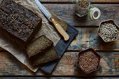 Apple Bread Loaf From Sunflower Seeds, Chia And Flax Seeds. Homemade Baking. Paleo Diet. Organic Hea poster