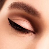 Macro Beautiful Female Eye With Long Eyelashes . Sexy Look Sensu poster