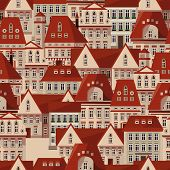 Vector Red Roofs Seamless Pattern. Modern Town Houses Panorama. Vector City Prague Czech Republic Se poster