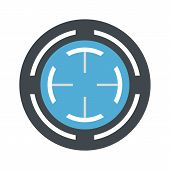 Blue Gun Aim Icon. Flat Illustration Of Blue Gun Aim Vector Icon For Web Isolated On White poster