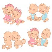 Set With Cute Little Twin Babies. Baby Shower Illustration. Twin Girls And Boys. Different Pairs Of  poster