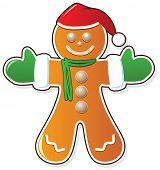 Gingerbread Cookie In Santa's Claus Hat