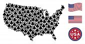 Clubs Suit Items Are Organized Into American Map Mosaic. Vector Concept Of Usa Geographic Map Is Cre poster