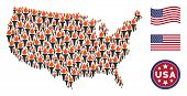 Freedom Fire Torch Icons Are Arranged Into Usa Map Mosaic. Vector Composition Of Usa Geographical Ma poster