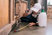 Pest Control Worker Lying On Floor And Spraying Pesticides Under Cabinet In Kitchen poster