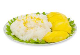 stock photo of thai food  - Sticky Rice Mango Thai Dessert isolated on white - JPG